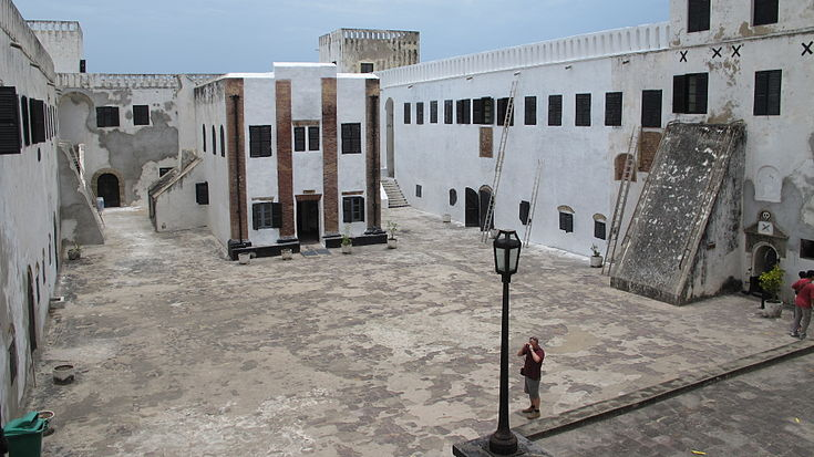 Elmina Castle Interior and Courtyard view with Church