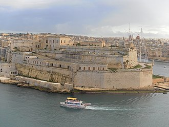 Fort St. Angelo - View of Fort St. Angelo, with the four batteries constructed by Grunenburgh visible to the left.