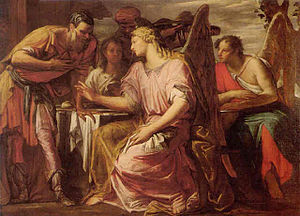 Giovanni Antonio Fumiani - Abraham and the Three Angels, oil on canvas, 129 x 183 cm. Private collection.