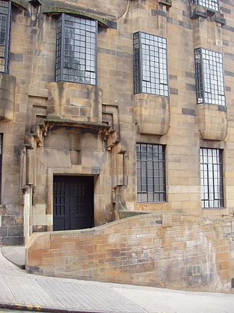 Architecture in Glasgow - Western façade of Charles Rennie Mackintosh's Glasgow School of Art.