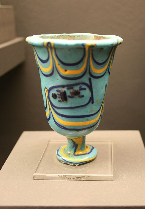 Glass making advanced during the reign of Thutmose III and this cup bears his name. Glaskelch Thutmosis III.jpg
