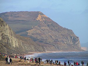 Charmouth - Golden Cap viewed from Charmouth beach