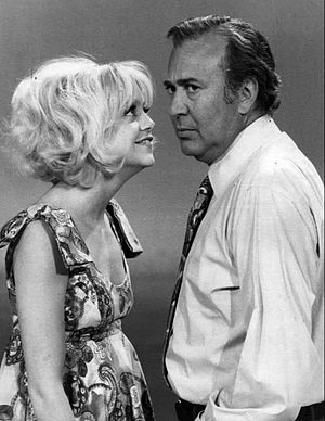 Carl Reiner - Reiner with Goldie Hawn on the set of Rowan & Martin's Laugh-In on January 16, 1970