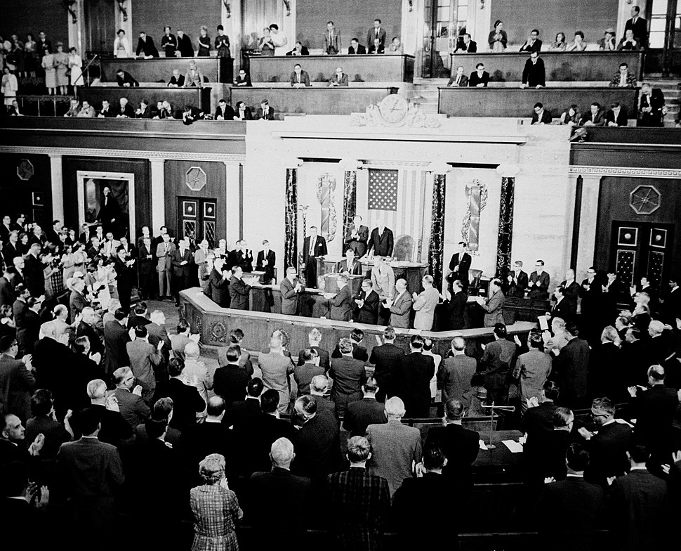 Gordon Cooper and Pete Conrad receive a standing ovation from U.S. House
