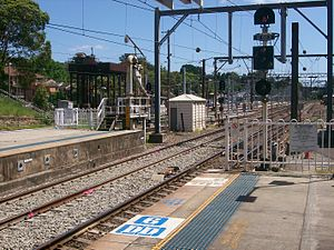 Gosford railway station - Northbound view from Platform 1 with water crane in January 2011