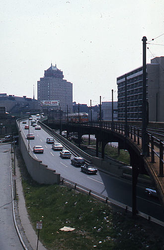 Causeway Street Elevated - A Lechmere-bound PCC streetcar train on the Causeway Street Elevated in May 1976, next to Central Artery ramps