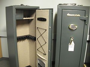 Gun safe - An example (open and closed) of a typical gun safe.