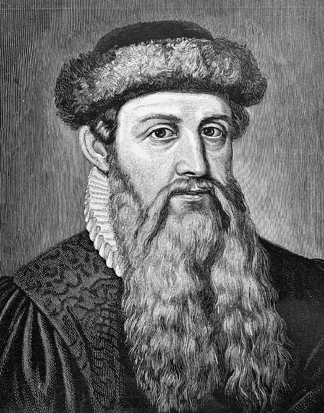 Wykonana pośmiertnie ilustracja przedstawiająca Johannesa Gutenberga