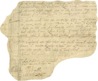 "Part of a confession by Guy Fawkes. His weak signature, made soon after his torture, is faintly visible under the word ""good"" (lower right). Guy Fawkes confession.png"