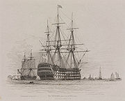 HMS Victory in Portsmouth Harbour with a coal ship alongside, 1828