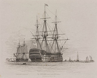 Thomas Slade - HMS Victory in Portsmouth Harbour with a coal ship alongside, 1828. Etching by Edward William Cooke  based on his own drawing.