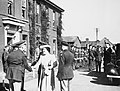 HM King George VI and Queen Elizabeth are greeted by Brigadier Frank Hunter and Major General Ira Eaker of the 8th US Army Air Forces on a visit to Duxford, 26 May 1943. CH19214.jpg