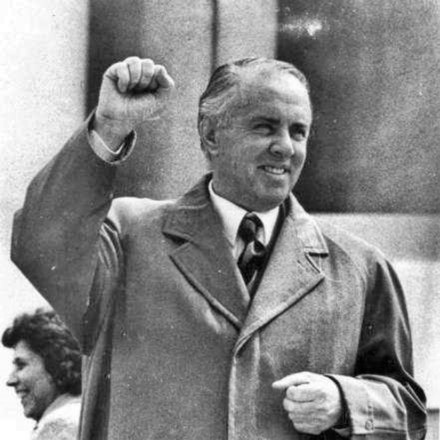 Enver Hoxha, who led the Sino-Albanian split in the 1970s and whose anti-revisionist followers led to the development of Hoxhaism HODZA druha miza.jpg