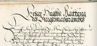 Burgomaster - Caption of a Bürgermeisteramt from 1505 (burgomaster Erhart Huck of Bozen, South Tyrol
