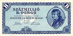1020 Hungarian pengő banknote issued in 1946