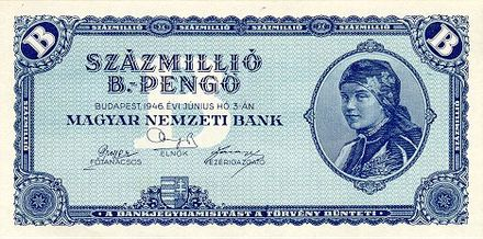 "The 100 million b.-pengo note was the highest denomination of banknote ever issued, worth 10 or 100 quintillion Hungarian pengo (1946). B.-pengo was short for ""billio pengo"", i.e. 10 pengo. HUP 100MB 1946 obverse.jpg"