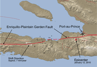 Enriquillo–Plantain Garden fault zone - Fault system in the vicinity of the 12 January 2010 quake, epicenter is the red circle.