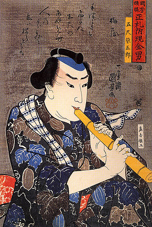 Goshaku Somegoro - Woodblock print of Goshaku Somegoro playing shakuhachi, by Utagawa Kuniyoshi