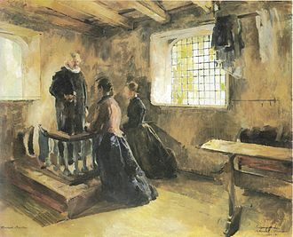 Christening in Tanum Church - Entrance Wives (1892) Harriet Backer
