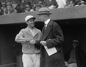 Bucky Harris - Harris and Connie Mack meet on Opening Day, 1926