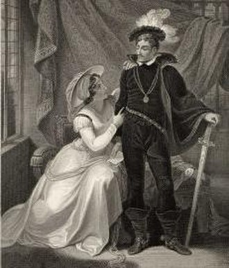 """Elizabeth Mortimer - A romanticised painting of Elizabeth Mortimer and her first husband Henry """"Hotspur"""" Percy"""
