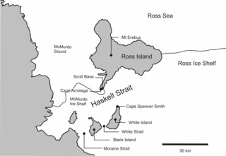 Haskell Strait, Antarctica tidal flow under the McMurdo Ice Shelf, Antarctica