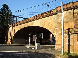 Central, New South Wales - Sandstone railway bridge over Hay Street, beside Belmore Park