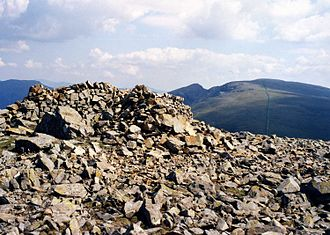Haycock (Lake District) - The stony summit of Haycock with Scoat Fell and Steeple in the distance