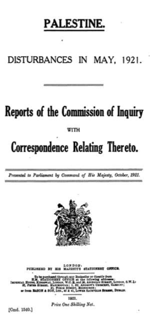 Haycraft Commission - Haycraft Commission of Inquiry, Cmd 1540