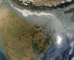 Clouds of thick haze and smoke may form over the Ganges river basin. Hazesmoke Gangeticbasin.jpg