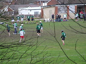 Heaton Mersey - Lacrosse being played north of the church.
