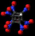 Heptanitrocubane molecule ball.png