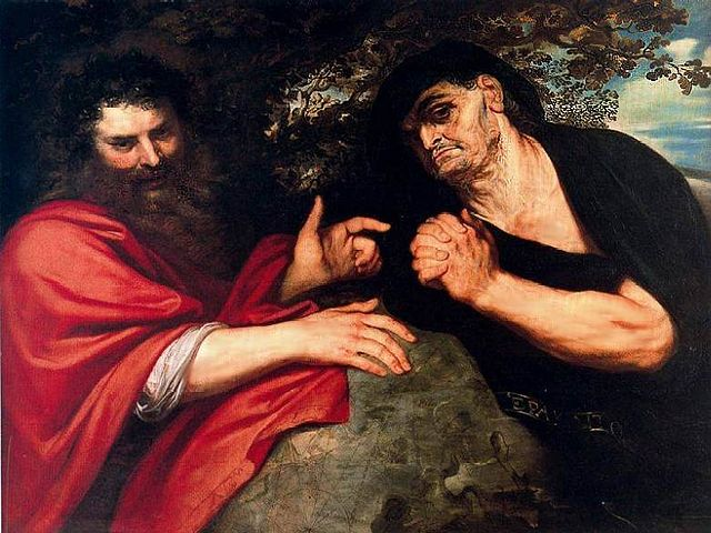 Гераклит и Демокрит. 1603, масло по дереву. 95×125,5см. Вальядолид, Национальный музей искусств