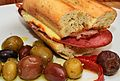 Herbed garlic bread sandwich with olives.jpg