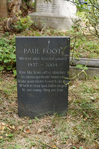 Paul Foot (journalist) - Foot's gravestone in Highgate Cemetery. The epitaph is from The Masque of Anarchy by Percy Bysshe Shelley.