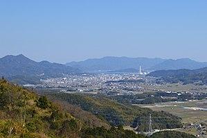 Hirao - Hirao town hall viewed from Mt Iwaki