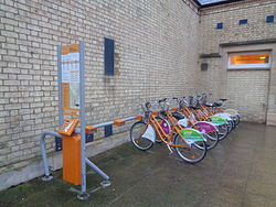 Hire bicycles, Lincoln railway station (14th December 2015).JPG