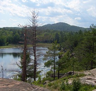 Baraga County, Michigan - Hogback Mountain from Wetmore Landing, in the Huron Mountains