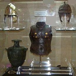Hoplite armour exhibit at the Corfu Museum closeup