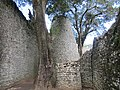 Huge conical tower now 7 meters shorter destroyed by treasure hunters Great Zimbabwe.jpg