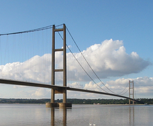 A view of the suspension bridge over the Humber estuary
