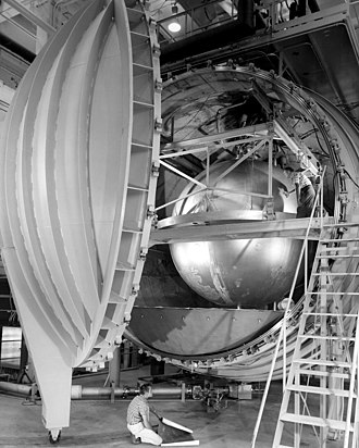 Liquid hydrogen - A large hydrogen tank in a vacuum chamber at Lewis Research Center in 1967