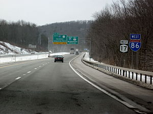 Interstate 86 (Pennsylvania–New York) - I-86 signage along the 10 miles of NY 17 co-designated as I-86 just east of the NY 17 / I-81 interchange