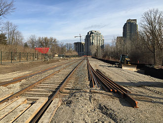 Ion rapid transit - Construction work on Waterloo Spur in April 2015