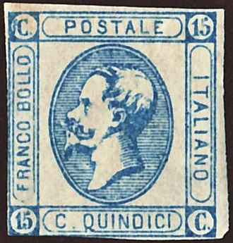 """Postage stamps and postal history of Italy - An 1863 stamp of the Kingdom of Italy depicting the profile of King Victor Emanuel II and the inscription """"Postale italiano""""."""