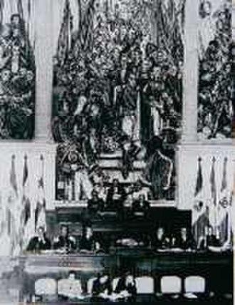 Congress of Colombia - Image: IX Conferencia Panamericana en el Salón Elíptico del Capitolio Nacional frente al mural por Santiago Martinez Delgado