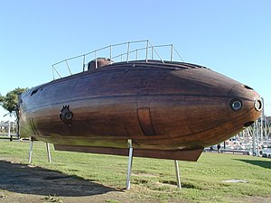 A replica of Ictineo II, Monturiol's pioneering submarine, in Barcelona.