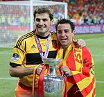 Iker Casillas and Xavi Euro 2012 trophy.jpg
