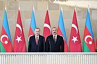 Ilham Aliyev and Recep Tayyip Erdogan attended the parade dedicated to 100th anniversary of liberation of Baku 01.jpg