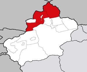 Или-Казахский автономный округ на карте